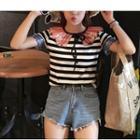 Sequined Collar Stripe Short-sleeve T-shirt