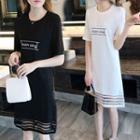Lettering Short-sleeve Mesh Panel Mini A-line Dress