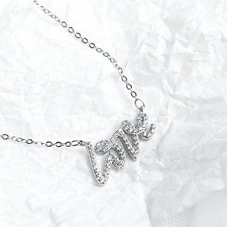925 Sterling Silver Rhinestone Love Pendant Necklace 925 Silver - As Shown In Figure - One Size