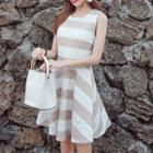Striped Sleeveless A-line Lace Dress