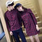 Couple Matching Long-sleeve Plaid Blouse