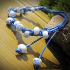 Ceramic Bead String Bracelet Blue - One Size
