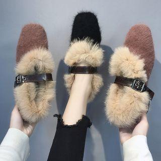 Square-toe Chunky Heel Furry Sandals