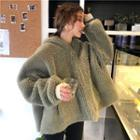 Furry Loose-fit Hooded Jacket