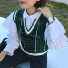 Plaid V-neck Knit Vest Green - One Size
