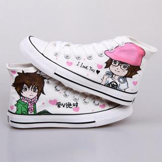 High-top Painted Canvas Sneakers