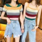 Striped Camisole Top / Short-sleeve Knit Top