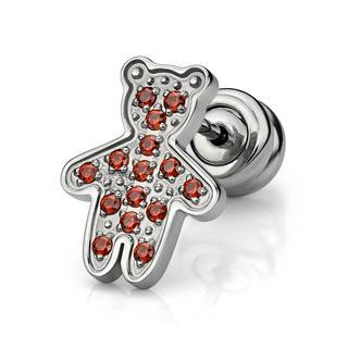 Red Crystal Kenny Bear Earring (single) Red - One Size