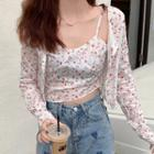 Floral Print Cardigan / Cropped Camisole Top