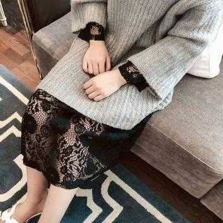 Long-sleeve Lace Midi Dress Black - One Size