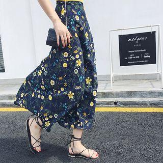Tie-waist Floral Maxi Chiffon Skirt