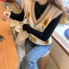 Floral Knit Vest / Knit Top