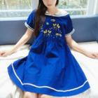 Sailor Collar Floral Embroidered Short-sleeve Dress