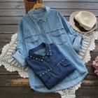 Beaded Trim Washed Denim Shirt