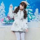 Hooded Zip Padded Jacket / Furry Trim / Set