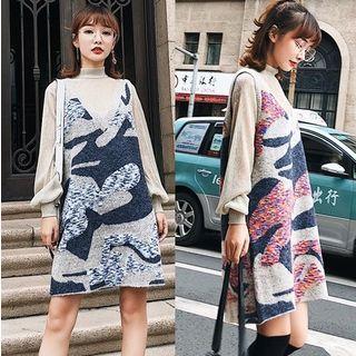 Set: Lantern Sleeve Mock Neck Top + Sleeveless Knit Dress