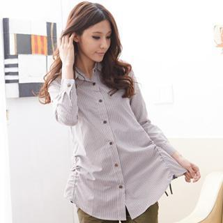 Ruched Striped Long Blouse
