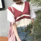 Striped Cropped Knit Vest