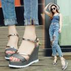 Shimmery Wedge Sandals