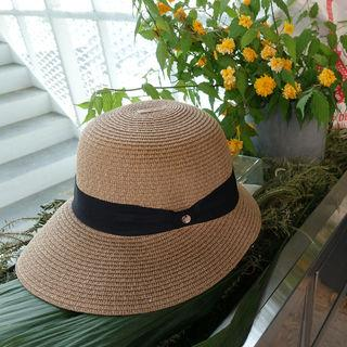 Woven Boater Hat Beige - One Size