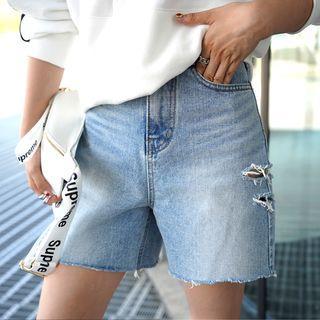 Slit-side Distressed Denim Shorts