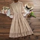 Patterned Long-sleeve A-line Midi Chiffon Dress