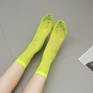 Pointy-toe Net Stiletto Heel Short Boots