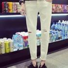 Cropped Cutout Tapered Pants