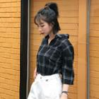 Elbow-sleeve Plaid Long Shirt