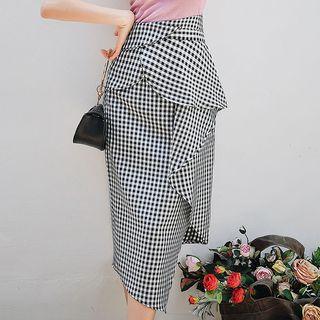 Ruffle Plaid Midi Pencil Skirt