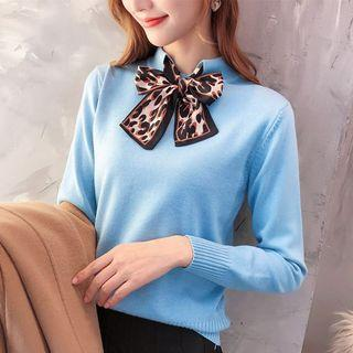 Long-sleeve Tie Neck Knit Top