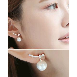 Rhinestone Bar Faux-pearl Dangle Earrings