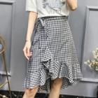 Ruffle Plaid Flared Skirt