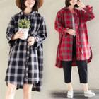 Plaid Asymmetrical Split Shirtdress