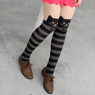 Cat Print Striped Tights Black, Gray And Nude - One Size