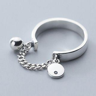 925 Sterling Silver Rhinestone Chained Ring 925 Sterling Silver - Ring - One Size