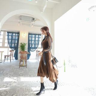 Lace-up Back Velvet Pinafore Dress