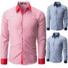 Long-sleeve Contrast Trim Striped Shirt