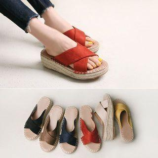 Cross-band Espadrille Wedges