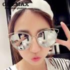 Metal Frame Mirrored Cat Eye Sunglasses