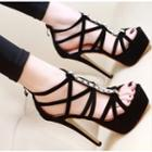 Rhinestone Accent Strappy High Heel Platform Sandals