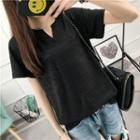 Plain Split Neck Short Sleeve T-shirt