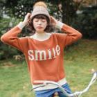 Lettering Contrast Trim Sweater