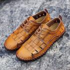 Lace-up Woven Genuine Leather Shoes