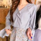Open-placket Flare-cuff Blouse