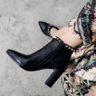 Genuine Leather Pointy Toe Studded Block Heel Ankle Boots