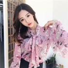 Flower Print Bell-sleeve Tie-neck Chiffon Blouse