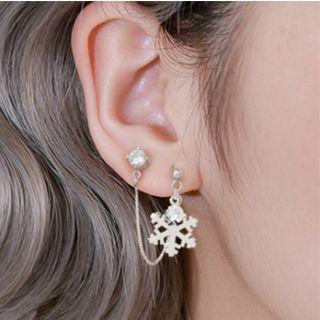 925 Sterling Silver Snowflake Rhinestone Dangle Earring 1 Pair - Silver - One Size