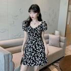 Floral Short-sleeve A-line Dress Floral Dress - One Size