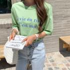 French Letter-printed T-shirt Green - One Size